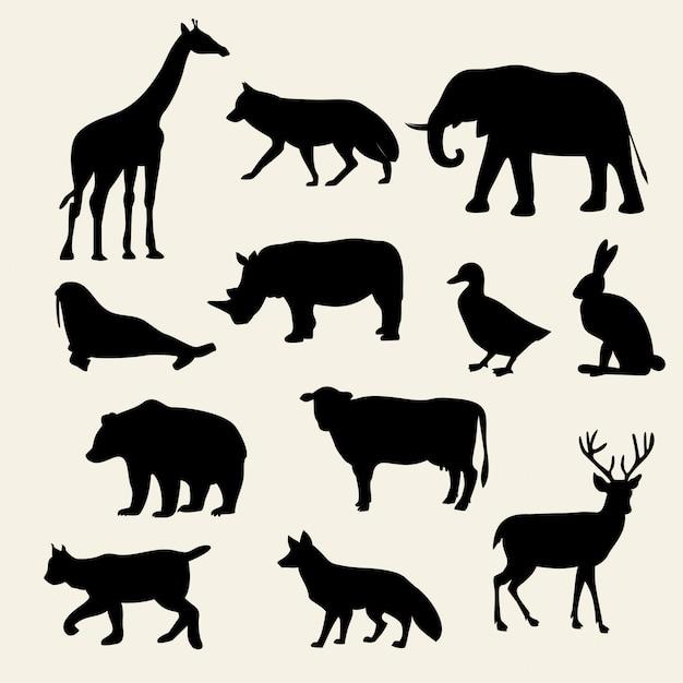Wilde dieren silhouetten instellen Premium Vector