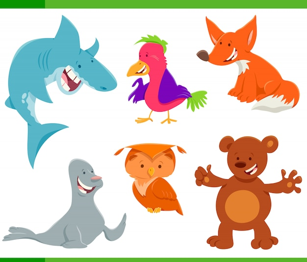 Wilde dieren tekens cartoon set Premium Vector