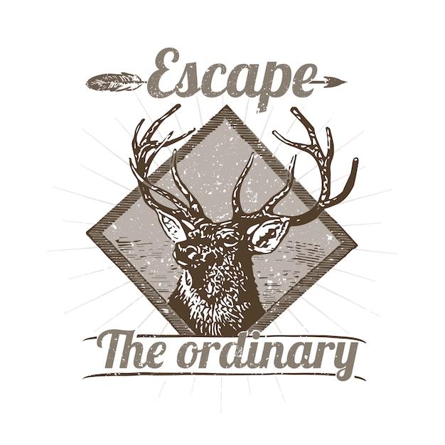 Wilde herten logo illustratie Gratis Vector