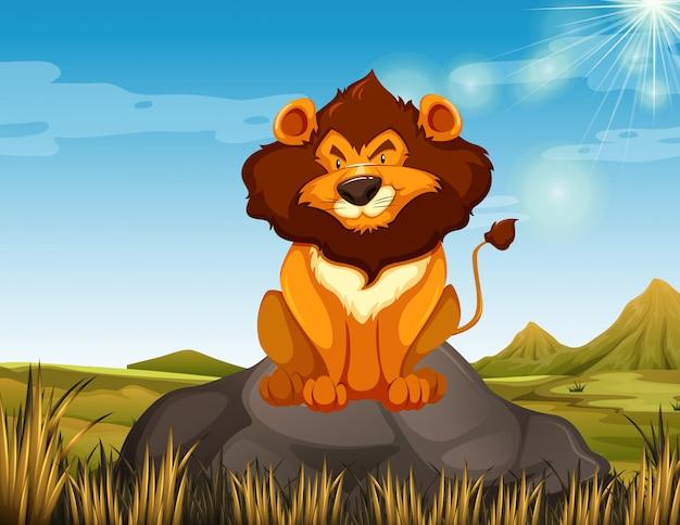 Wilde leeuw zittend op de steen Gratis Vector