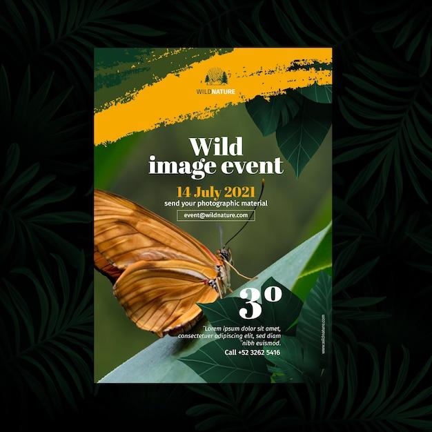 Wilde natuur poster concept Gratis Vector