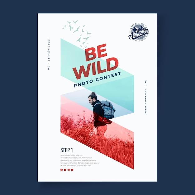 Wilde natuur verticale poster sjabloon Premium Vector