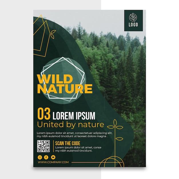 Wilde natuur verticale poster sjabloon Gratis Vector