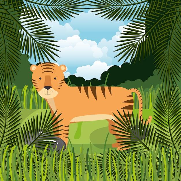 Wilde tijger in de jungle scene Gratis Vector