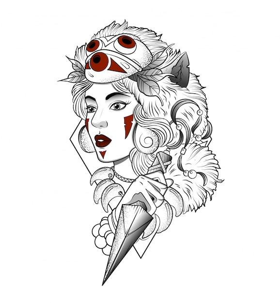 Wilde vrouw gemaskerde jager met een mes Premium Vector