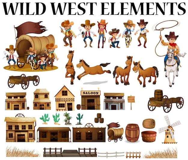 Wilde west cowboys en gebouwen illustratie Gratis Vector