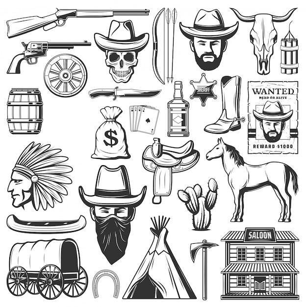 Wilde westen cowboy iconen, amerikaanse westerse items Premium Vector
