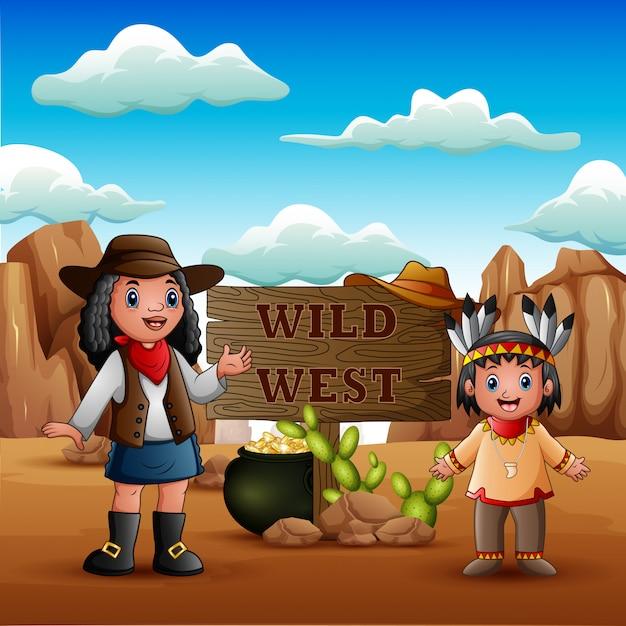 Wilde westen met jonge afrikaanse cowgirls en indiase meisje Premium Vector