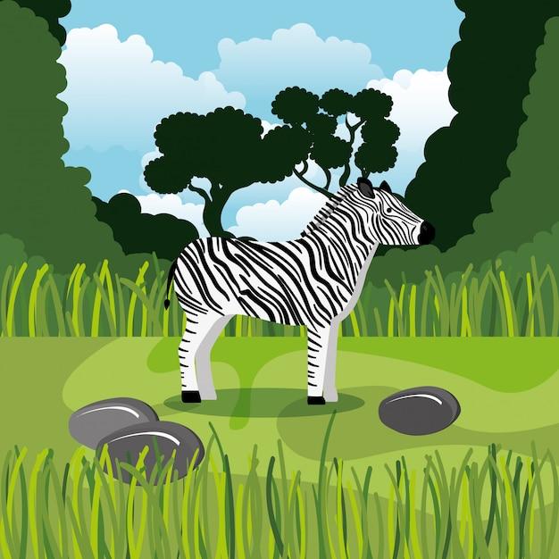 Wilde zebra in de jungle scène Gratis Vector