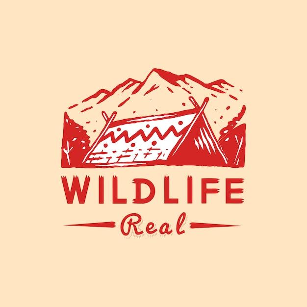 Wildlife en avontuur badge Gratis Vector