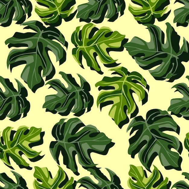 Willekeurig helder botanisch naadloos monsterapatroon. exotische groene bladeren op lichtgele achtergrond. geweldig voor behang, textiel, inpakpapier, stoffenprint. illustratie. Premium Vector