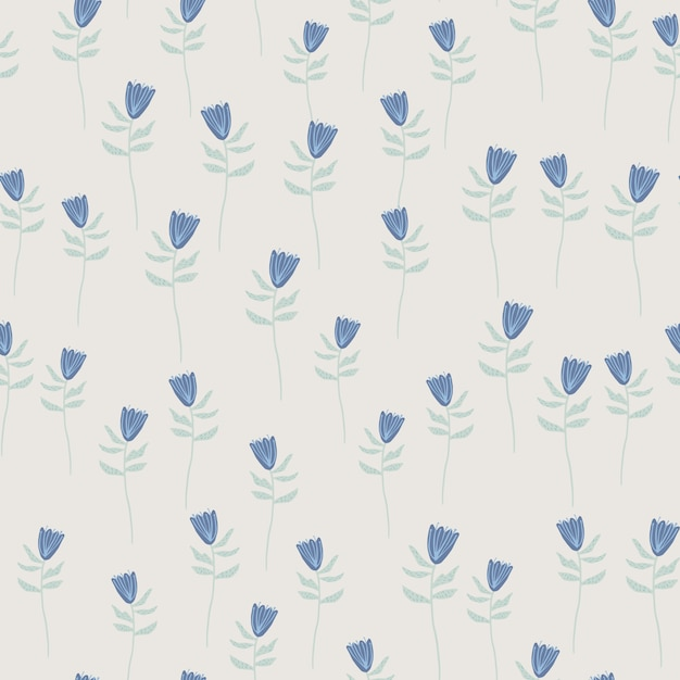Willekeurig naadloos patroon met kleine blauwe bloemenvormen. grijze achtergrond. hand getekend kunstwerk. Premium Vector