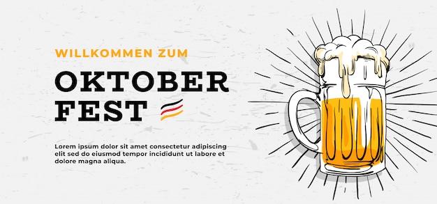 Willkommen zum oktoberfest poster sjabloon sjabloonontwerp Premium Vector