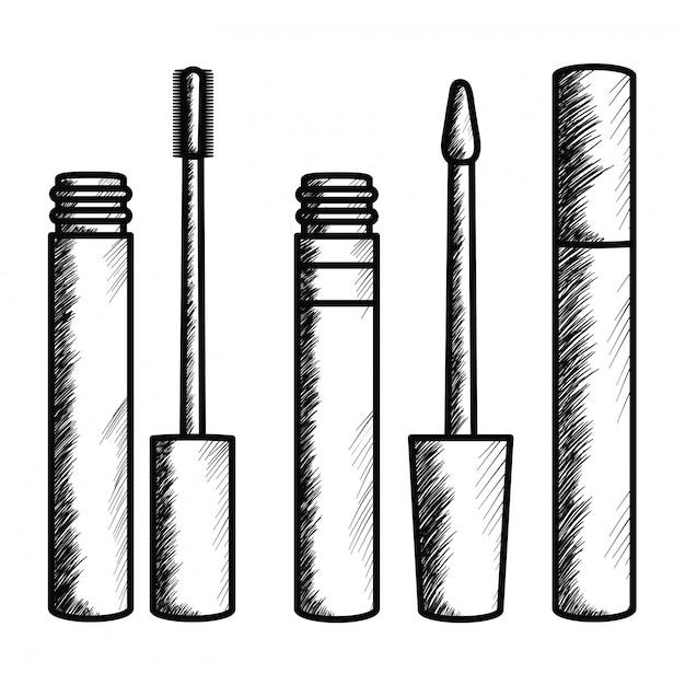 Wimper make-up tekening pictogram Gratis Vector