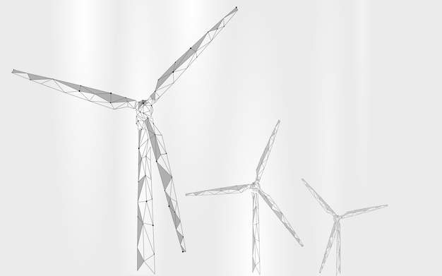 Wind generator laag poly abstracte achtergrond. sparen ecologie groene energie elektriciteit Premium Vector