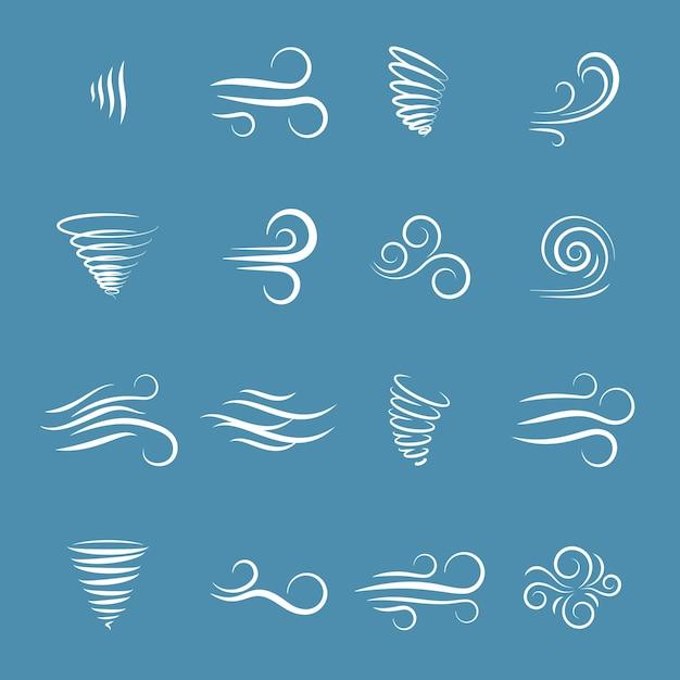 Wind iconen natuur, golf stroomt, koel weer, klimaat en beweging, vector illustratie Gratis Vector