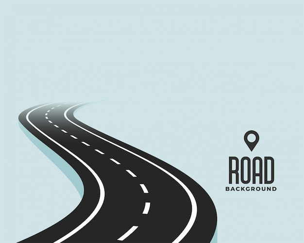 Windende de wegachtergrond van de kromme zwarte weg Gratis Vector