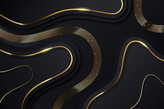 Windende gouden lijnen op donkere achtergrond Gratis Vector