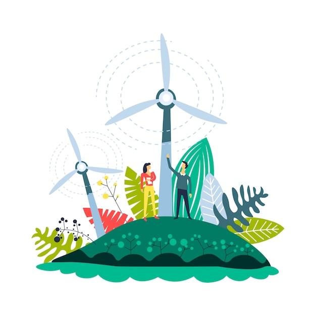 Windenergie plantages windmolens en planten ingesteld Premium Vector