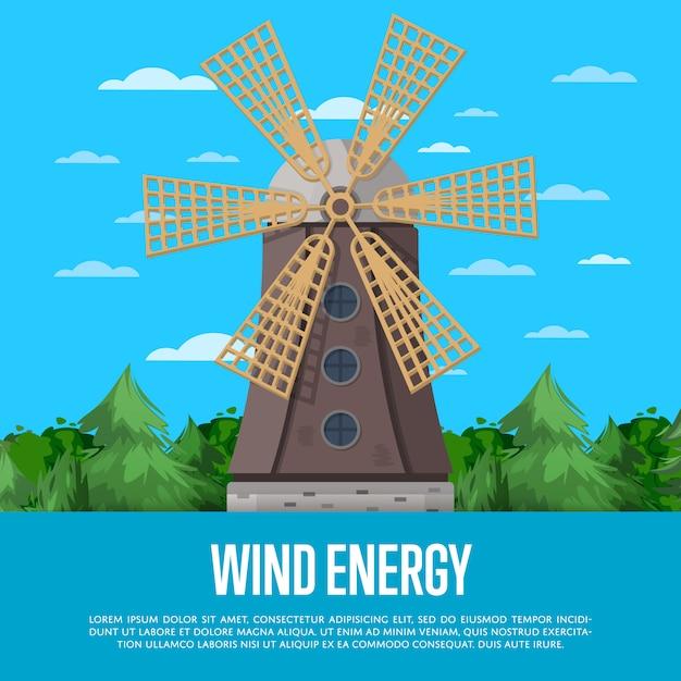 Windenergieposter met houten oude windmolen Premium Vector