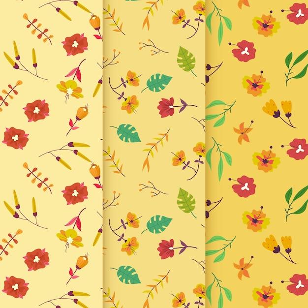 Winderige bloemen hand getekende lente patroon Gratis Vector