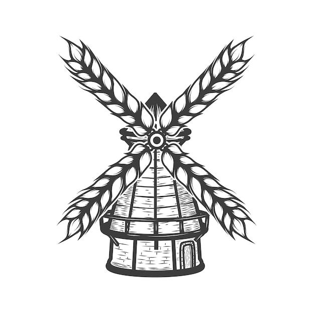 Windmolen met tarwe op een witte achtergrond. elementen voor logo, label, embleem, teken, merkmarkering. illustratie. Premium Vector