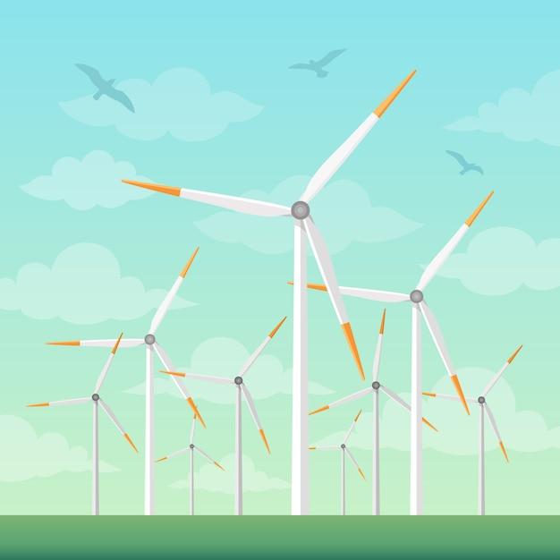 Windmolens op groene velden vectorillustratie Premium Vector