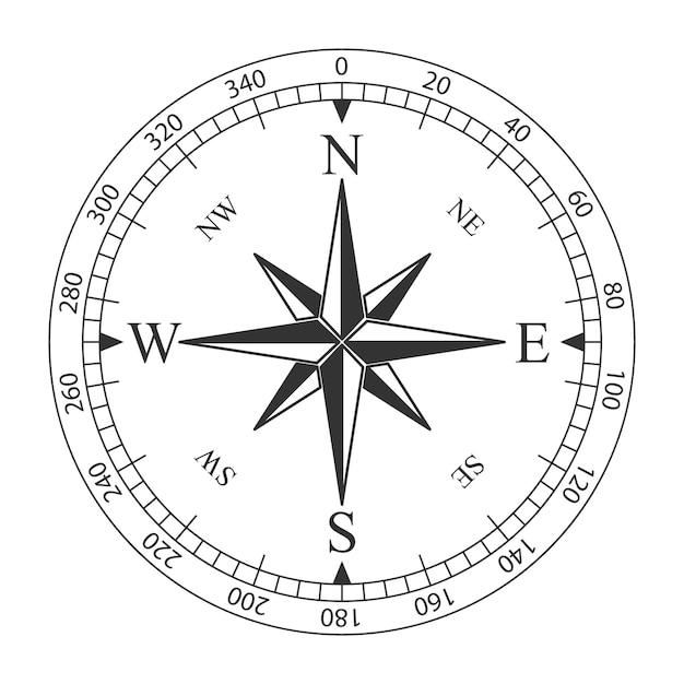 Windroos magnetisch kompas Premium Vector