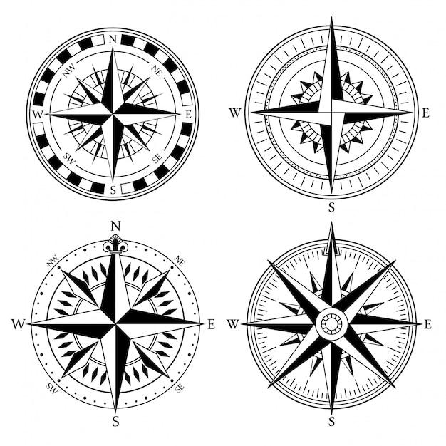 Windroos retro ontwerp vectorinzameling. vintage nautische of mariene windroos Premium Vector