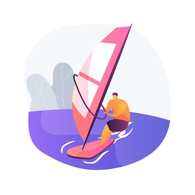 Windsurfen abstract concept vectorillustratie. watersport, extreme levensstijl, zee-avontuur, kitesurfen, oceaangolf, strandvakantie, surfatleet, tropische wind abstracte metafoor. Gratis Vector