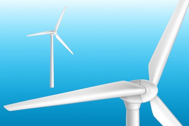 Windturbine op toren realistische geïsoleerde illustratie. effectief systeem voor hernieuwbare energie. Gratis Vector