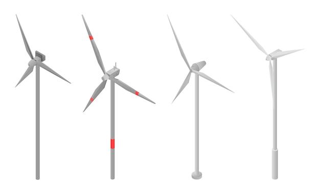 Windturbine pictogrammen instellen, isometrische stijl Premium Vector
