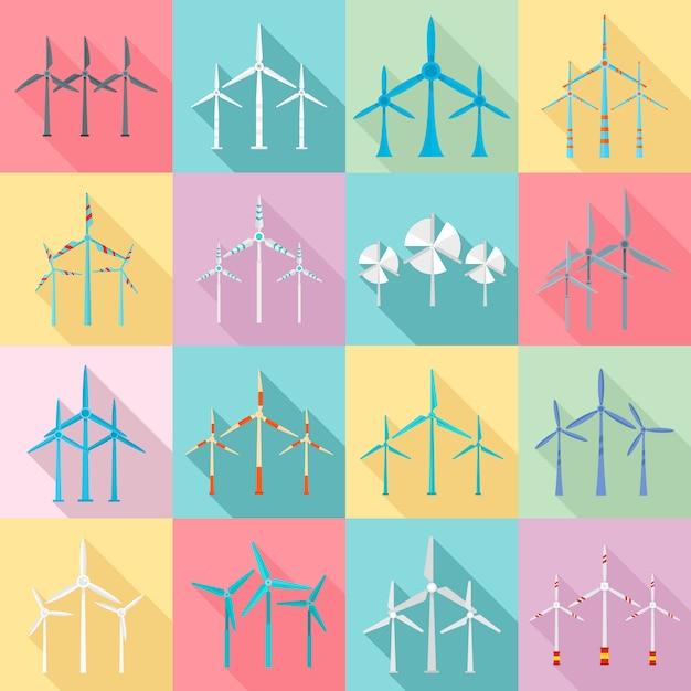 Windturbine pictogrammen instellen. platte set van windturbine pictogrammen Premium Vector