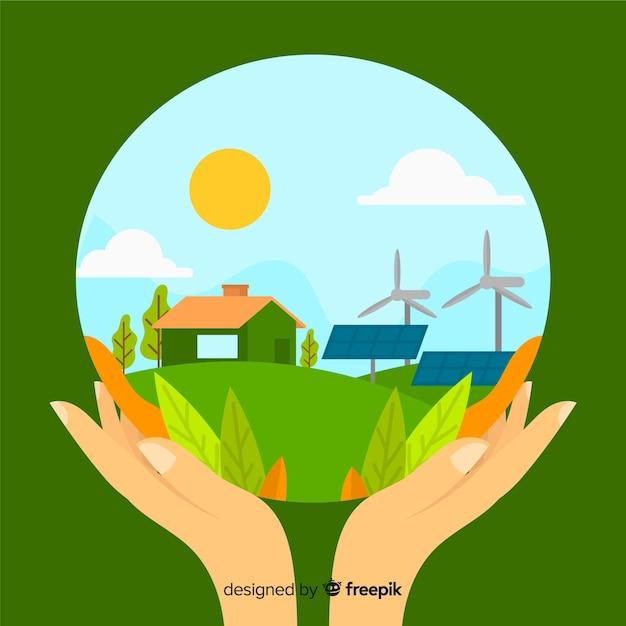 Windturbines en zonnepanelen in een boerderij Gratis Vector