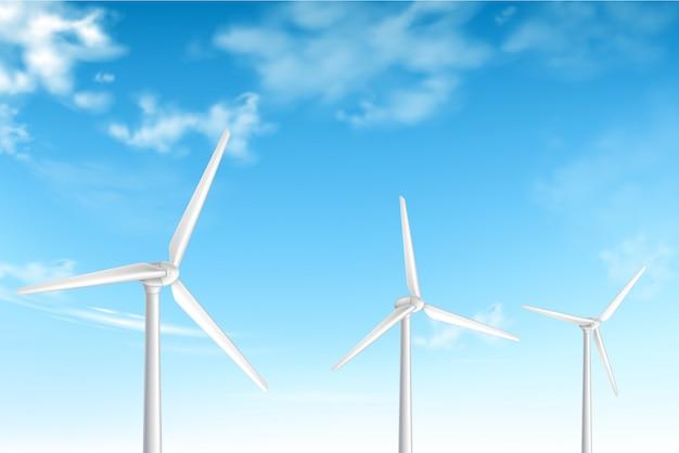Windturbines op bewolkte blauwe hemelachtergrond Gratis Vector
