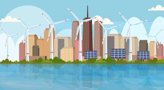 Windturbines zonnepanelen schone alternatieve energiebron hernieuwbare station concept moderne stadsgezicht skyline achtergrond horizontaal Premium Vector