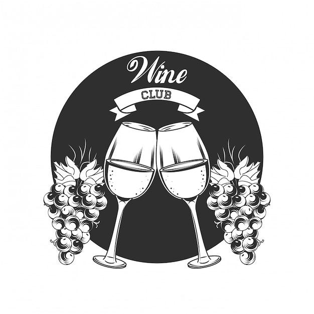 Wine club-embleem Premium Vector