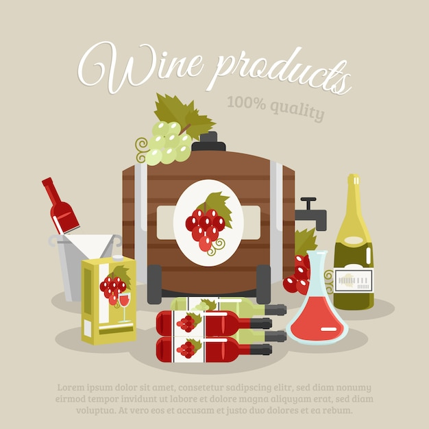 Wine products flat life still poster Gratis Vector