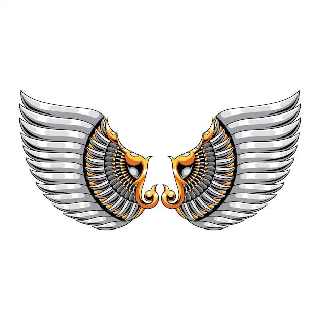 Wing mandala zentangle illustration en tshirt design premium vector Premium Vector