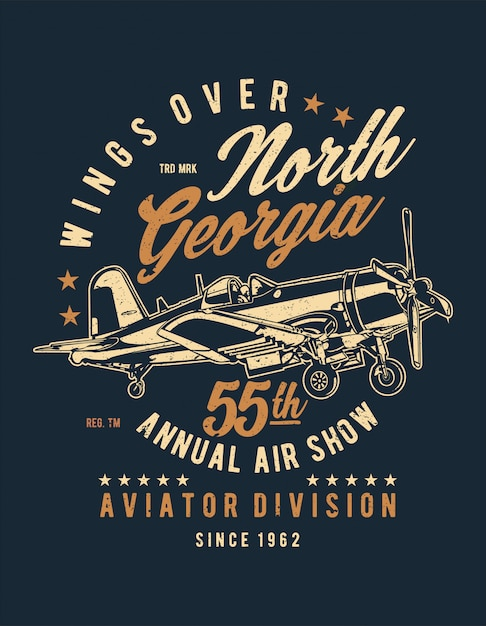 Wings over north georgia Premium Vector