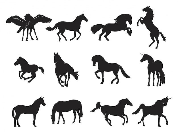 Wings race horse pegasus unicorn run prancing silhouette Premium Vector