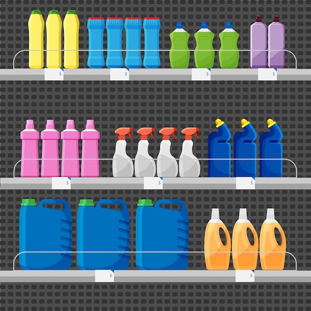 Winkel aanrecht of kraam met wasmiddelen en schoonmaakmiddelen. reeks verschillende kleurenflessen of containers, waspoeder Premium Vector