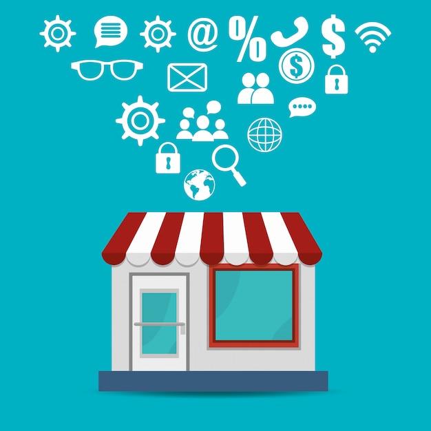 Winkel gebouw met elektronische handel pictogrammen Gratis Vector