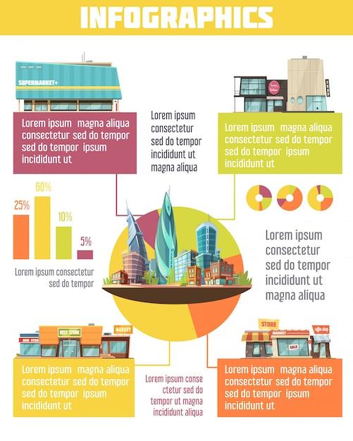 Winkel gebouwen infographic set met supermarkt symbolen cartoon vectorillustratie Gratis Vector