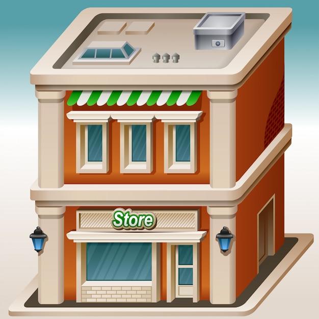 Winkel isometrische cartoon afbeelding. schattig huis Premium Vector