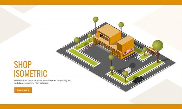 Winkel landing page of web posterontwerp met bovenaanzicht van isometrische supermarkt winkel gebouw en voertuig parkeerplaats werf achtergrond. Premium Vector