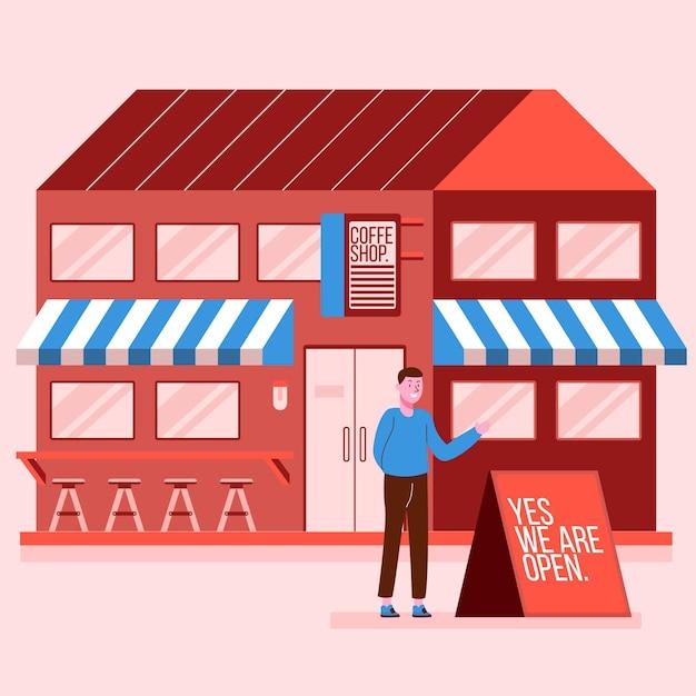 Winkel met open tekenillustratie Gratis Vector