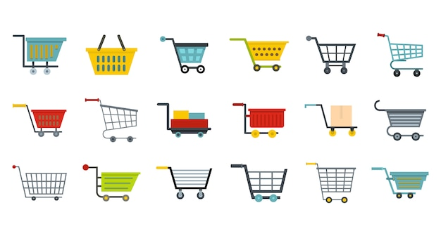 Winkel wagen icon set. platte set van winkel wagen vector iconen collectie geïsoleerd Premium Vector