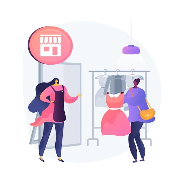 Winkelbediende abstract begrip vectorillustratie. winkelcentrum winkelaankoop, baan boetiekverkoopster, klantenservice, consumentenkeuze, abstracte metafoor voor vrouwenmodemarkt. Gratis Vector