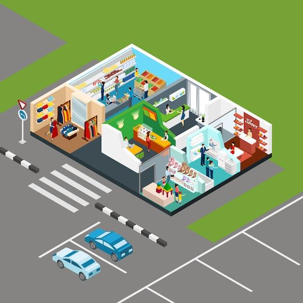 Winkelcentrum isometrisch concept Gratis Vector